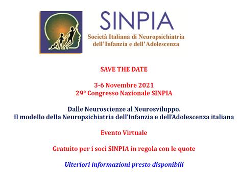 Save the date: 29° congresso Nazionale SINPIA